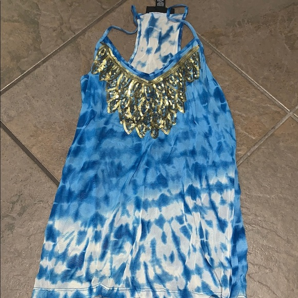 INC International Concepts Tops - International Concepts blue w/ gold sequins tank